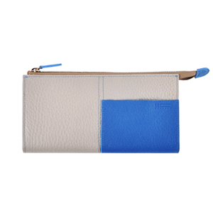 Two tone Wallet_L (light gray / cobalt)