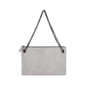 Eyelet Clutch Bag (light gray / purple)